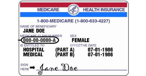 Sample Medicare Card with Medicare Beneficiary Identifier